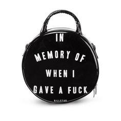 Killstar In Memory Of When I Gave A F*ck Round Handbag Black Black (62 CAD) ❤ liked on Polyvore featuring bags, handbags, black handbags, black bag, black purse, round purse and round handbag