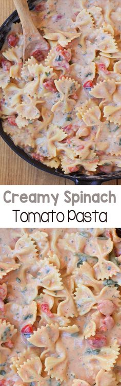 Creamy Spinach Tomato Pasta - A rich and ultra creamy pasta recipe, without all the unhealthy fat and calories - This delicious one-pot meal is a weeknight staple - We never have any leftovers! Creamy Tomato Pasta, Creamy Pasta Recipes, Creamy Spinach, Spinach Pasta, Spinach Recipes, Spinach Noodles, Chicken Recipes, Garlic Pasta, Beef Recipes