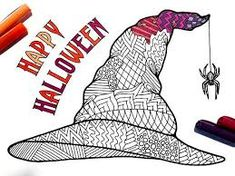 Witch Hat PDF Zentangle Coloring Page - Happy Halloween activity with spider Halloween School Treats, Cute Halloween Costumes, Halloween Activities, Halloween Cards, Easy Halloween, Halloween Math, Coloring Book Pages, Printable Coloring Pages, Witch Drawing
