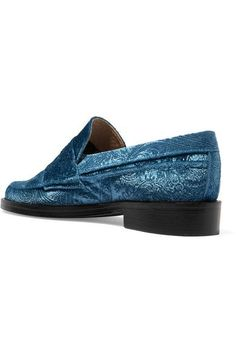 MR by Man Repeller - The Alternative To Bare Feet Embossed Velvet Loafers - Light blue - IT