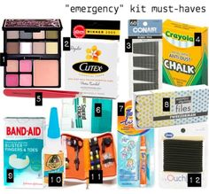 DIY emergency purse kit; Full makeup essentials compact, Nail Polish remover pads, Bobby Pins, Anti-Dust Chalk (for stains on white clothing!), Tweezers, Travel Deodorant, Nail File, Bandaids, Super glue (for broken shoes or purse...) , Small sewing kit, Hair bands