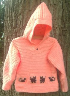 Child's handknit orange sweater hoodie with black by bebbyjumpers, £18.00