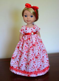 """Red Roses"" Regency Dress, Outfit, Clothes for American Girl Wellie Wishers…"