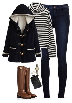 """""""Toggle coat & oversized striped sweater"""" by steffiestaffie ❤ liked on Polyvore featuring J Brand, Zara, Valentino, Burberry and Coach"""