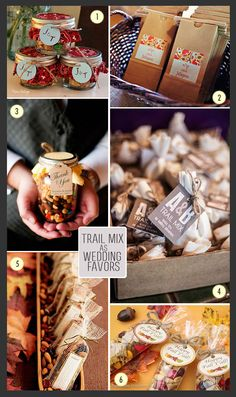 Trail mix favors in jars and bags #fallwedding #trailmix #favorpackaging