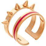 Maria Francesca Pepe Rose Gold Double Ring With Fuchsia Enamel & Spikes