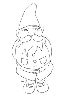 gnome coloring page- divide into sections with addition or take away sums in each section with colour comings for answers.