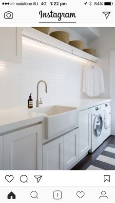 A fresh, Hamptons style laundry with ample hanging space. Notice the clever stri… A fresh, Hamptons style laundry with ample hanging space. Notice the clever strip lighting above. Room Design, Home, Room Renovation, Room Remodeling, Mudroom Laundry Room, Laundry, Laundry Room Lighting, Modern Laundry Rooms, Hanging Rail