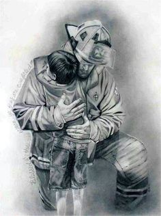Items similar to Firefighter art print painting on Etsy Firefighter Paramedic, Wildland Firefighter, Volunteer Firefighter, Fireman Tattoo, Firefighter Tattoos, Fireman Quilt, Firefighter Drawing, Firefighter Pictures, Angel Drawing