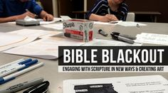 Creative spin on Lectio Divina! Using Bible Blackout for Ministry and Engaging Scripture -a great youth group project, or for any group looking to get their hands into spirituality. Youth Group Lessons, Youth Group Activities, Youth Games, Bible Activities, Games For Teens, Church Activities, Youth Groups, Youth Group Crafts, Youth Ministry Lessons