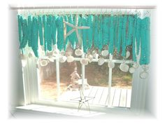 Nod To Turquoise Blue Number Two Driftwood Beachy Keen Window Treament Valance Curtain Bathroom Kitchen Dining Room