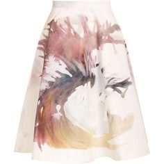Msgm Paint Print Skirt ($525) ❤ liked on Polyvore featuring skirts, bottoms, white, print skirt, a line skirt, white midi skirt, msgm skirt and pocket skirt