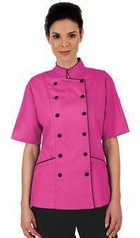 Chaqueta de Chef Entallada para Mujer - Botones Forrados en Tela - 100% Algodón