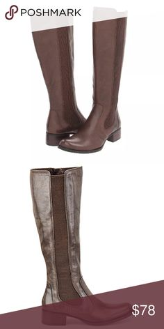 Born Brown Leather Boots Tall leather boots by Born. Born is known for creating shoes with comfort in mind. These boots have an elastic panel going down the calf, making them versatile for different calf sizes. Born Shoes Over the Knee Boots
