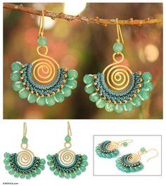 Beaded chandelier earrings - Kiwi Kiss | NOVICA  More wire crochet earrings at my shop http://www.yooladesign.com/collections/wire-crochet-jewelry