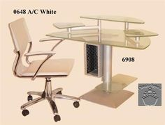 Frosted Glass Computer Desk W  Swivel Arm Chair 6908-Dsk