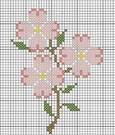 Cross stitch pattern dog wood flowers: