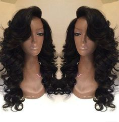 Swept side bangs wavy long wigs long wave wigs hairstyles haircut lace front wigs human hair wigs wigs for black women african american wigs