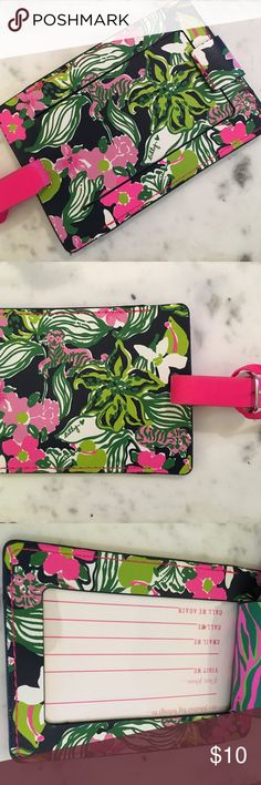 Lilly Pulitzer Luggage Tag NEW/UNUSED without tag: Adorable Lilly Pulitzer luggage tag with navy/green/pink floral motif. Flap snaps back to revel owner info. 🌺 Lilly Pulitzer Accessories