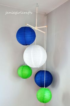'navy blue and green paper lanterns for baby nursery' | Yet another mobile idea.