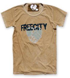 #FREECITY ALLFORLOVE glasswash t-shirt goldenglass