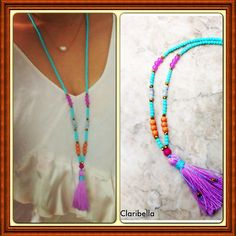 Long Tassel Necklace  Blue Crystal Beads and by ClaribellasDesigns