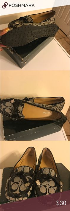 Coach Flats Nice pair of shoes, slightly worn. Please see pic closely for scuffs in front and light wear on the inside and bottom! Comfortable, but must get rid of, because I have too many alike!   Authentic coach shoes. Does not have original box. Coach Shoes Flats & Loafers
