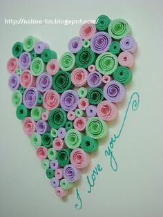 Lin Handmade Greetings Card: Quilled heart pattern #6