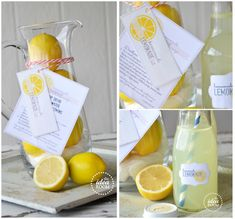 Fill up a glass pitcher with lemons and a bag of sugar and attach these free printable tags/recipe for an adorable lemonade gift kit.  Love this!