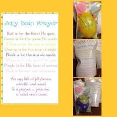 Jelly bean prayer My version! I printed the prayer off on post Card paper and cut them to fit Into dollar tree bags with Easter eggs on one side. Filled an egg with the colors from the prayer and put in the bag with the prayer card and then threw some smaller random jelly beans in the bag, that the kids could eat!! Tree Bag, Prayer Cards, Post Card, Jelly Beans, Dollar Tree, Easter Eggs, Prayers, Printed, Random