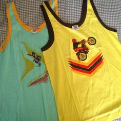 Two Vintage Tank Tops  Yellow and Mint Green  by StonebluffManor