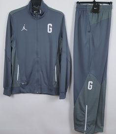 NIKE AIR JORDAN GEORGETOWN HOYAS WARM UP SUIT JACKET + PANTS GREY NEW (SZ  LARGE) ea2430798