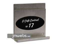 Portamenús de Acero Inoxidable de sobremesa para restaurantes en Barcelona. Adaptable para una o varias cartas de menús. Personalizado. Precios en www.jmwebs.com - Teléfono: 935160047