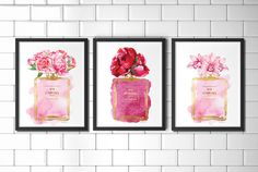 Set Chanel Watercolor flower Peony art print Coco by hellomrmoon