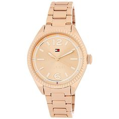Tommy Hilfiger Women's Chrissy Bracelet Watch (7295 RSD) ❤ liked on Polyvore featuring jewelry, watches, ionic rose gold plated steel, tommy hilfiger jewelry, tommy hilfiger watches, watch bracelet, dial watches and tommy hilfiger