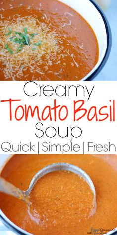 This easy homemade Creamy Tomato Basil Soup is packed full of flavor thanks to the fresh basil and canned fire roasted tomatoes, Creamy Tomato Basil Soup - The BEST Creamy Tomato Basil Soup Homemade Tomato Basil Soup, Canned Tomato Soup, Roasted Tomato Soup, Tomato Soup Recipes, Fire Roasted Tomatoes, Cream Of Tomato Soup, Quick Tomato Basil Soup Recipe, Simple Tomato Soup, Panera Tomato Soup Recipe