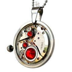 Steampunk anheng -rød Steampunk, Pocket Watch, Watches, Accessories, Clocks, Steam Punk, Pocket Watches, Clock