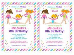 invitación del cumpleaños de gimnasia gimnasia invitación