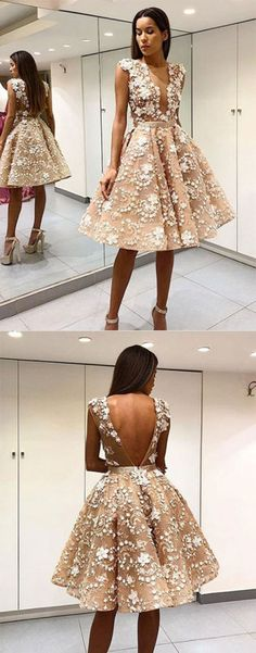 short prom dress, champagne homecoming dress, evening dresses