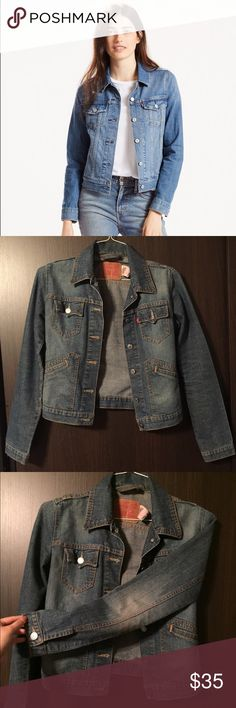 Classic Levi's Denim Jacket Gently worn Levi's  jacket, a spin on the original. Slightly tailored fit. Hits right above the hip. All buttons in tact, no holes or tears. Looks good as new! The color of the jacket is slightly darker than the first as you can tell from the other pictures! Levi's Jackets & Coats Jean Jackets