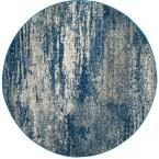 Evoke Navy/Ivory (Blue/Ivory) 5 ft. 1 in. x 5 ft. 1 in. Round Area Rug