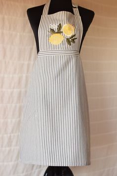 Fresh Lemon Design Embroidered Apron on Navy & Cream Striped Ticking Fabric, Chef Style With Yellow-Trimmed Side Pockets, Adjustable Straps by NestingInstinctShop on Etsy