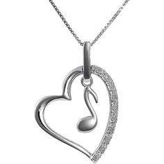 Jewel Exclusive Sterling Silver Diamond Heart w/ Music Note Pendant ($25) ❤ liked on Polyvore featuring jewelry, necklaces, accessories, multi, heart shaped pendant, heart pendant, diamond pendant jewelry, diamond jewelry and pendant jewelry