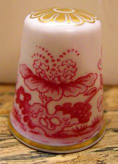 RP: Fancy Spode Bone China Pink Floral Thimble - flickr.com