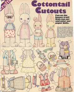 COTTONTAIL CUTOUTS by Amy Albert Bloom [Someone already colored this rabbit family.]