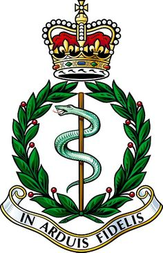 The cap badge of the Royal Army Medical Corps features a rod of Aesculapius, a symbol of healing, beneath the Queen's crown. Military Units, Military Police, Military History, Army Medic, Combat Medic, British Army Regiments, Military Stickers, Canadian Army, British Armed Forces