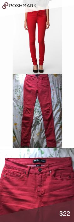 Red high-rise skinny jeans These BDG jeans are a little distressed looking (which is cool - they are not neon red). Waist is higher for a comfy flattering fit. They are 26 x 34. BDG Jeans Skinny