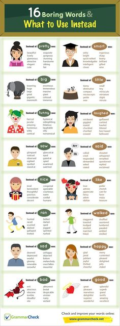 16 Boring Words & What to Use Instead (Infographic) || Ideas and inspiration for teaching GCSE English || www.gcse-english.com ||