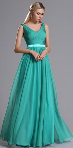 eDressit Teal Straps Plunging V Neck Ruched Bridesmaid Dress