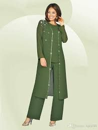 Green Plus Size Mother Of The Bride Pant Suits With Long Jacket Mother s Groom Outfit Beads Wedding Guest Dresses Mother Of The Groom Suits, Mother Of The Bride Plus Size, Suit With Jacket, Lace Jacket, Groom Outfit, Groom Dress, Evening Party Gowns, Evening Dresses, Wedding Pantsuit